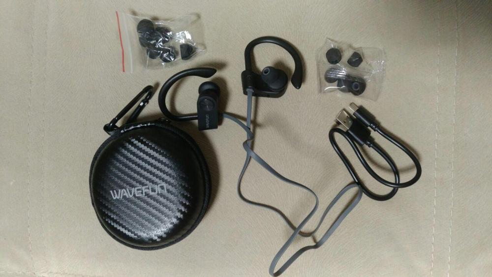 Wavefun bluetooth headphones IPX7 waterproof wireless headphone sports bass bluetooth earphone with mic for phone iPhone xiaomi