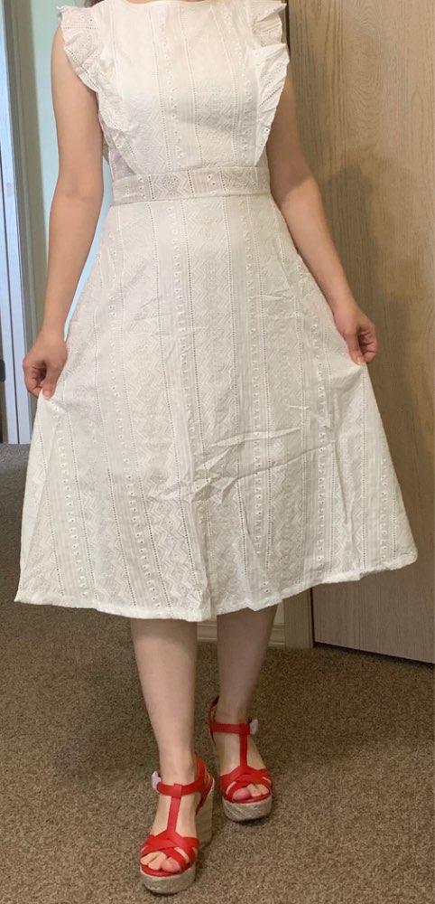 Fashion Summer A Line Lace White Dress Boho Beach Solid Women Midi Dresses Girl Sweet Ruffles Sleeveless Party Sundress photo review