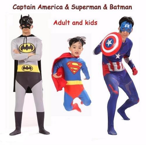 Kids Superman Batman Captain America Disfraces Party Costume Adult Superhero Cosplay Suit Men Boys Halloween Costume Kids