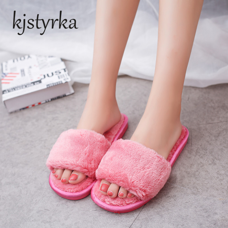2017 AUTUMN Winter New Arrived Comfortable  solid Fur warm slippers female Flock indoor floor Home Sliders flip flops shoes plush winter slippers indoor animal emoji furry house home with fur flip flops women fluffy rihanna slides fenty shoes