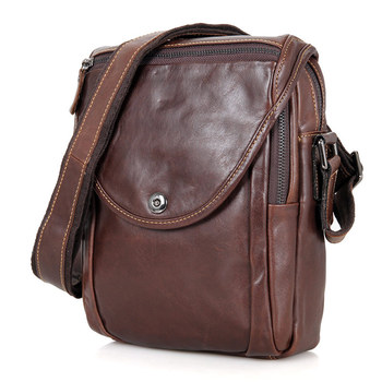 Men Messenger Bags Cow Leather Business Casual Vintage Brown Flap Small Mini Mobile Notebook Ipad Crossbody Bag For Man Male Bag