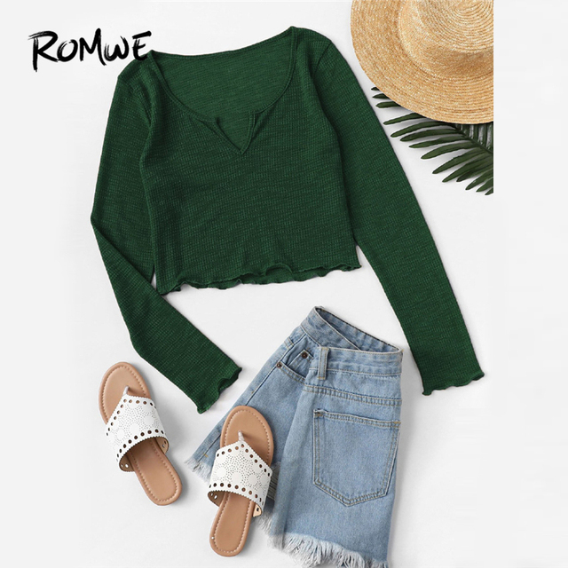 c90f9fe0f ROMWE Green V Cut Neck Lettuce Trim Solid Tee Shirt Women Casual Spring Autumn  Clothes Tops Long Sleeve Crop Slim Fit T Shirt