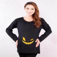 Funny Halloween Maternity T Shirts For Pregnant Women Plus Size Long Sleeve Jack O Lantern Print