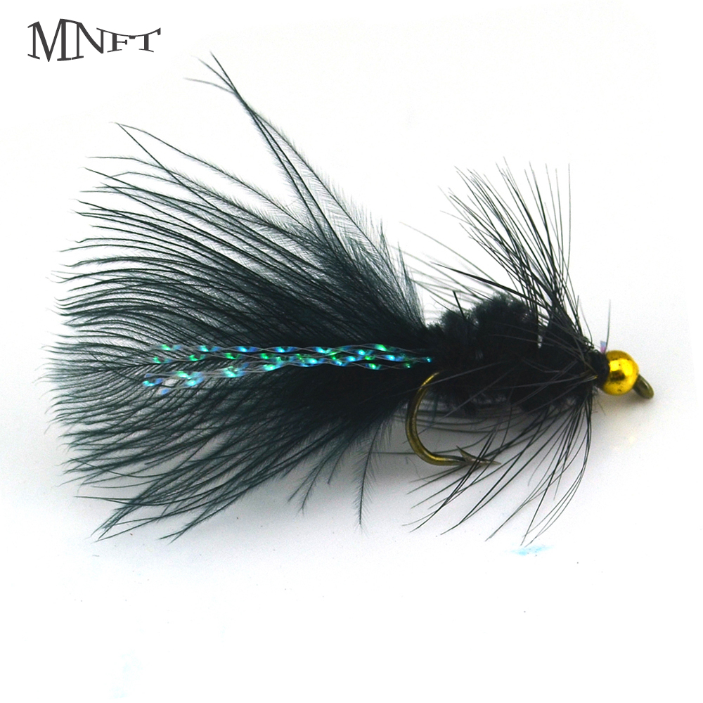 MNFT 10PCS Fly Fishing With Black Wool Flashabou Crystal Decoration Tail Insects Golden Stream Light Beads Head Hook Size 8 #