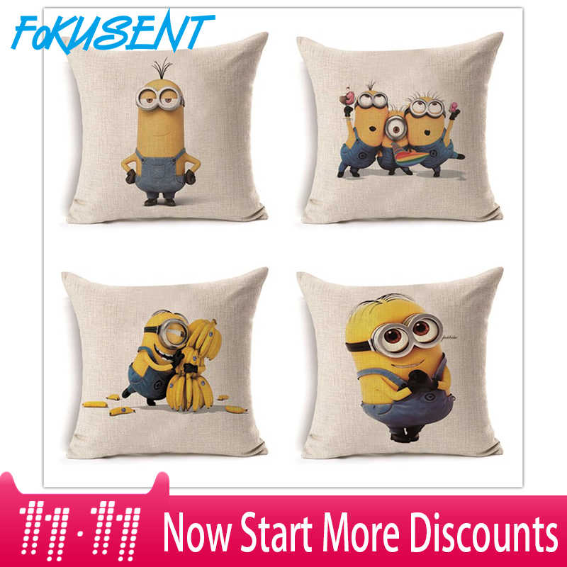 Fokusent Brand Cartoon Cushion Cover Cute Strange Minions Pillowcase Cover Custom Throw Pillow Cover Decorative Pillow Case