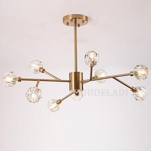 Image 4 - Nordic fashion transparent crystal Pendant Lamps modern living room ceiling lamps bedroom restaurant G9 LED Iron pendant lights