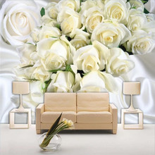 White silk rose background wall custom high-end mural factory wholesale wallpaper photo