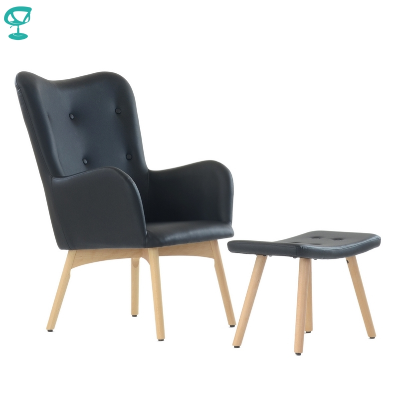 K101WdPuBlack Barneo K-101 Interior Lounge Chair With Ottoman Wood Legs Black Living Room Furniture Free Shipping In Russia