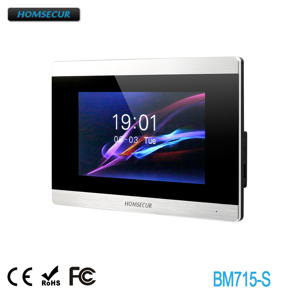 HOMSECUR  BM715-S Indoor Monitor Touch Screen Monitor 6 Languages Supported For HDK Series 1V1,1V2,1V3,1V4,2V1,2V2,2V3,2V4