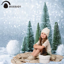 Allenjoy photophone photocall bokeh gray white snow green trees baby winter Christmas cute photography backdrops wall-papers