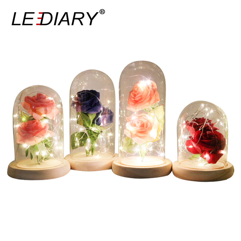 LEDIARY Rose Glass Bottles LED String Night Light DIY Home Decor Wooden Base Table Lamp 2pcs Rose Flower Valentine's Day Gift