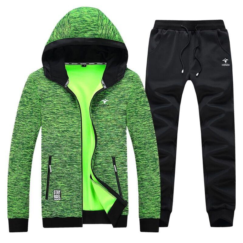 Худи и штаны 2 шт. Для мужчин спортивный комплект костюм бренд Толстовки с капюшоном на молнии куртка Для мужчин комплект осенний свитер Шта...