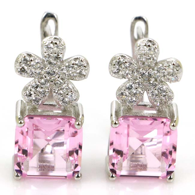 2018 New Designed Square Pink Kunzite, White Cubic Zirconia Woman's 925 Silver Stud Earrings 17x8mm