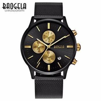 BAOGELA Erkekler quartz saat paslanmaz çelik tel örgü Bant Altın Saatler Ince Erkek Spor moda Kol Saati