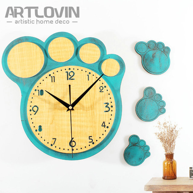 Creative Bear\'s Paw Decorative Home Deco Wall Clock Vintage Wooden ...