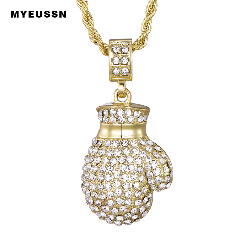 Boxing Glove Pendant Men  Hip Hop Rapper Jewelry Bling Boxing Gloves Pendant Full CZ Iced Out Hiphop CZ Necklace Unisex Fashion