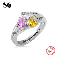 Hot 925 Sterling Silver Custom Heart Birthstone Engraved Names Ring for Women Wedding & Anniversary Jewelry