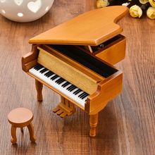 Burlywood Color Piano Wooden Music Box Style 18 Tones Grand with Stool For Musical Instruments Lover Gifts Classical Music Box