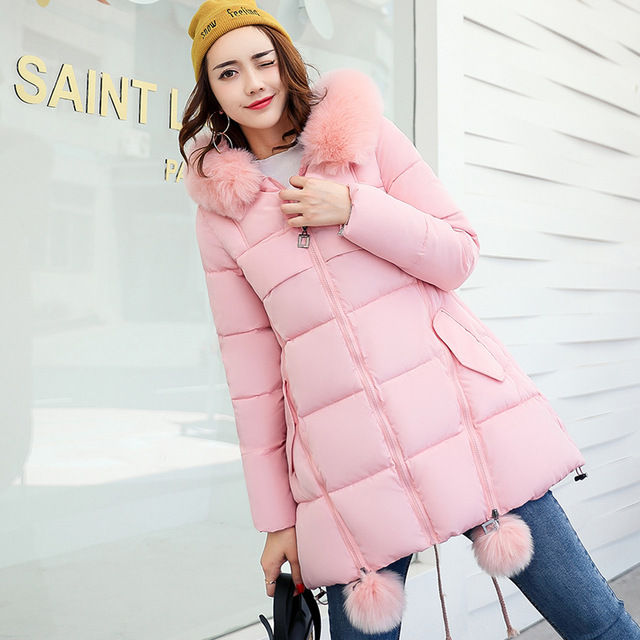 Long Women Winter Jacket Solid Cotton Padded Warm Fur Collar Hooded Cartoon Print Female Coat Parka