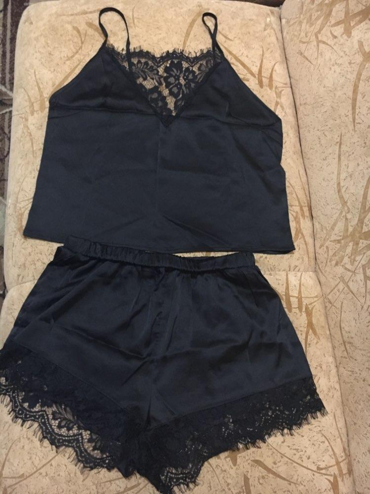 SHEIN Sexy Summer Pajamas Sleepwear for Women Sleeveless Spaghetti Strap Nightwear Lace Trim Satin Cami Top shorts Pajama Sets