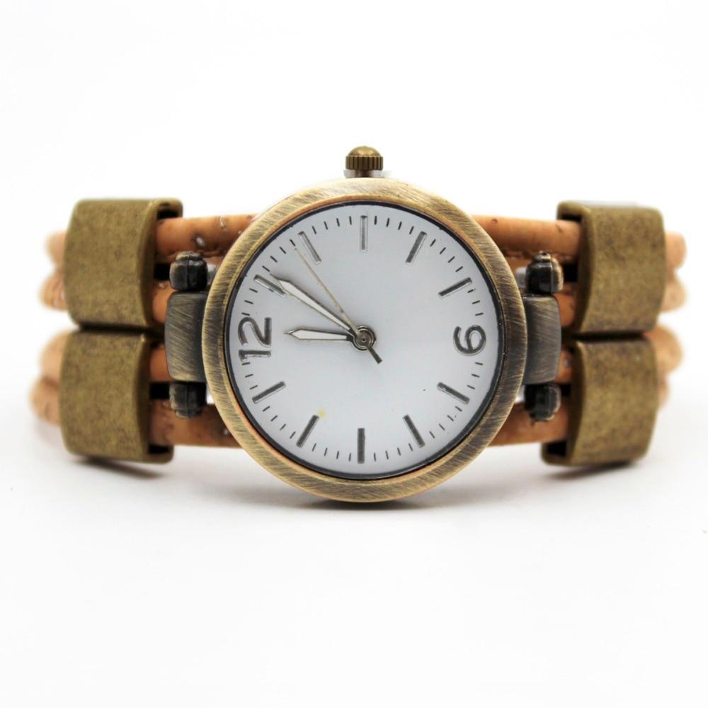 cork watch women watch Natural cork handmade women cork bracelet watch WA-105-B цена