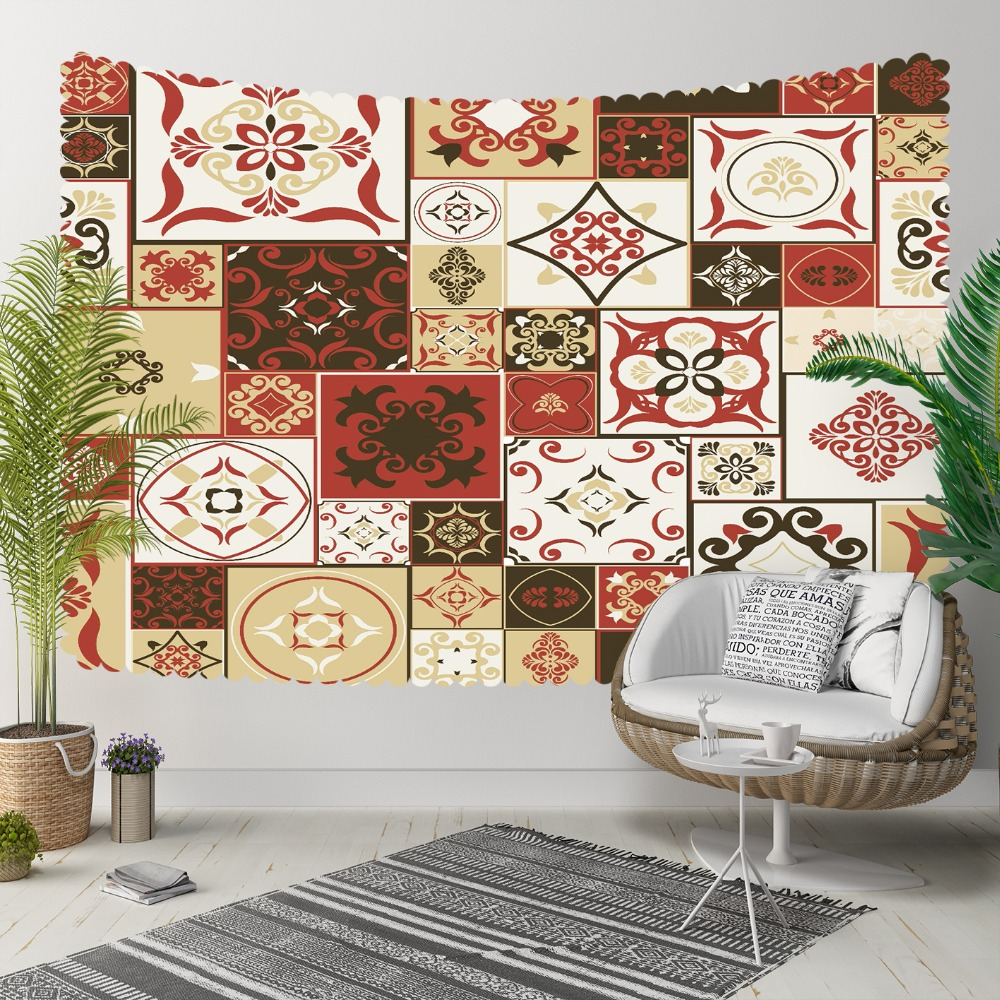 Else Brown Red Yellow Ottoman Ethnic Patchwork 3D Print Decorative Hippi Bohemian Wall Hanging Landscape Tapestry Wall Art