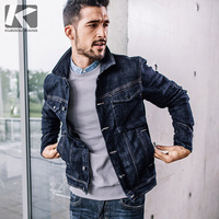 KUEGOU 2017 New Autumn Winter Dark Blue Denim Jacket Jeans Outerwear Fashion Slim Fit Jackets 76101