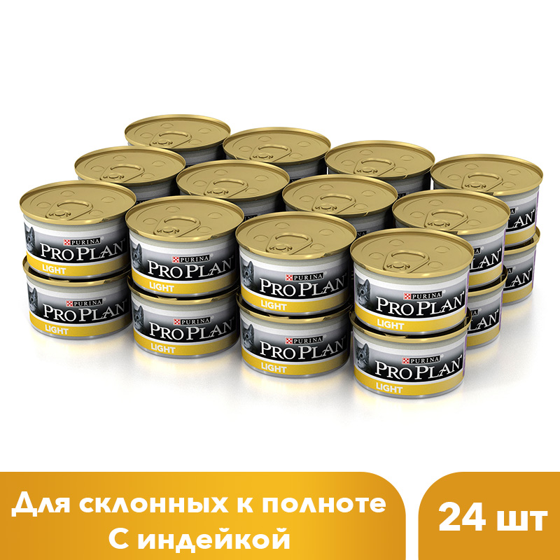 где купить Wet food Pro Plan for overweight cats and full-bodied cats with turkey, bank, 24x85 g дешево