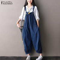 ZANZEA 2017 Womens Jumpsuits Loose Casual Spaghetti Strap Sleeveless Rompers Pockets Baggy Solid Simple Overalls Plus