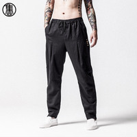 Men S 2017 Original Design Chinese Style Linen Cotton Pants Casual Loose Drawstring Waist Embroidery Harem