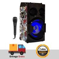 Bluetooth Karaoke Speaker Microphone Wireless USB/FM Radio/TF Card LED Light Portable Sound
