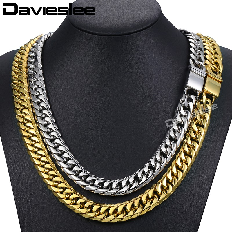 Davieslee Mens Necklace Chain Curb Cuban Rombo Link 316L Stainless Steel Gold Silver Tone LHNM22 25mm mens chain boys big curb link gunmetal tone 316l stainless steel bracelet charm bracelets for women