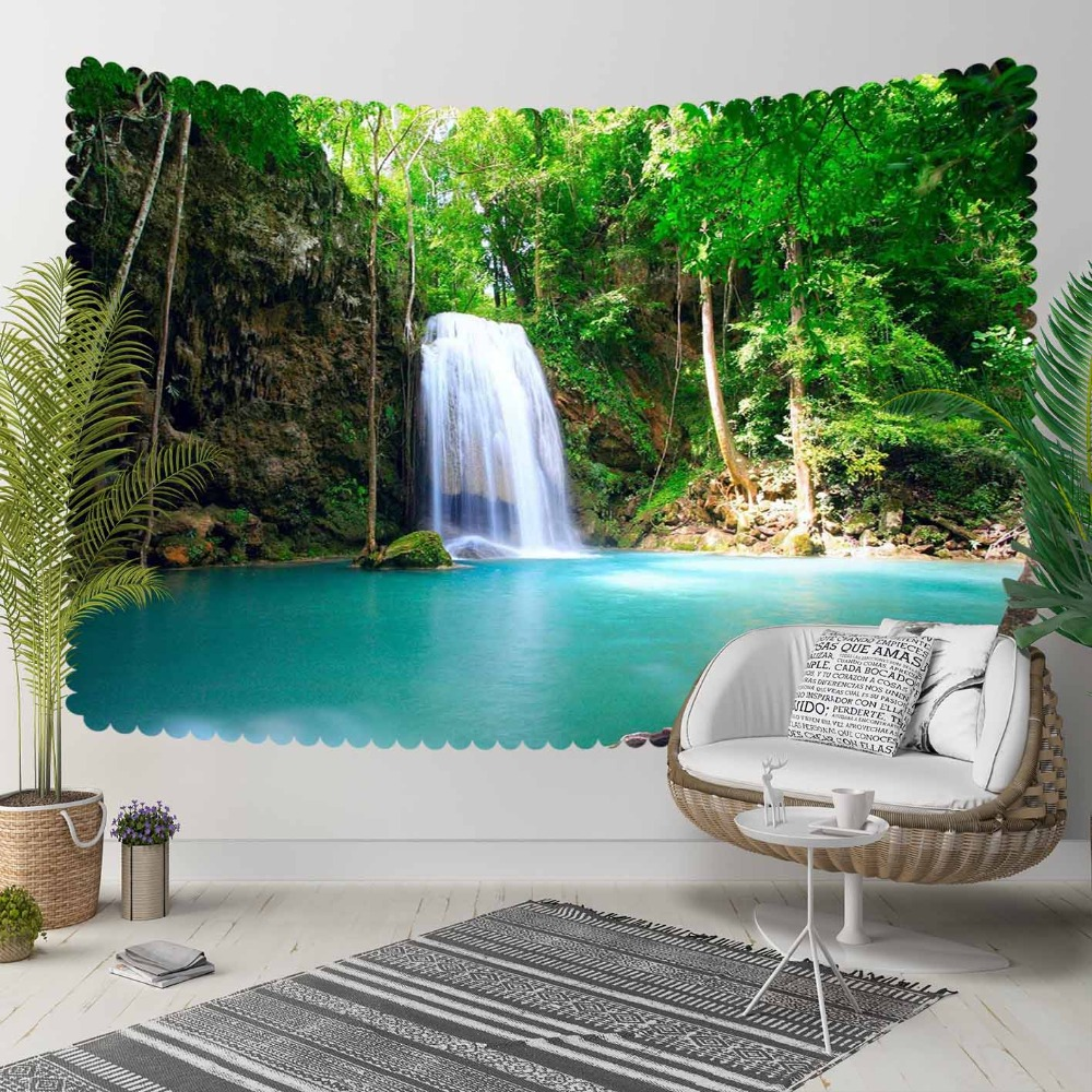 Else Mountain Waterfall In Blue Lake Floral Nature 3D Print Decorative Hippi Bohemian Wall Hanging Landscape Tapestry Wall Art