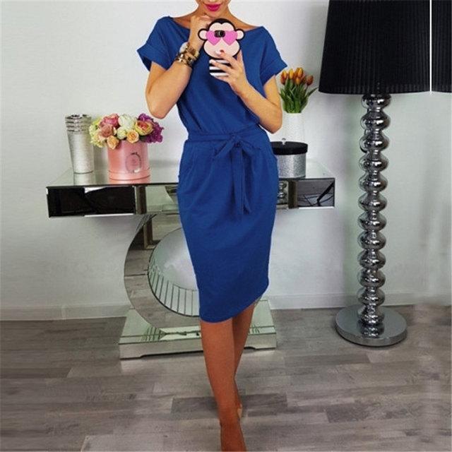 2018 Summer Fashion Ladies Sheath Dress Casual O-Neck Short Sleeve Slim Sashes Dresses Women Elegant Bodycon Vintage Vestidos