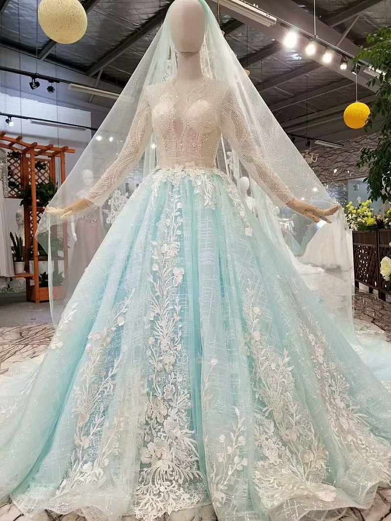 LS015788 long sleeves evening dress blue color deep sexy V neck  ball gown lace up back evening formal  dress with train