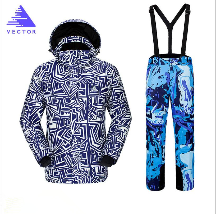 Acheter 2018 VECTEUR Marque Hommes Ski Veste Pantalon Snowboard Costume Coupe Vent Imperméable À L'eau En Plein Air Sport U
