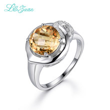 I&zuan 3.76ct Natural Citrine 100% 925 Sterling Silver Fine Jewelry Rings For Women Checkerboard Cut Gems Luxury Ring R0044-W05