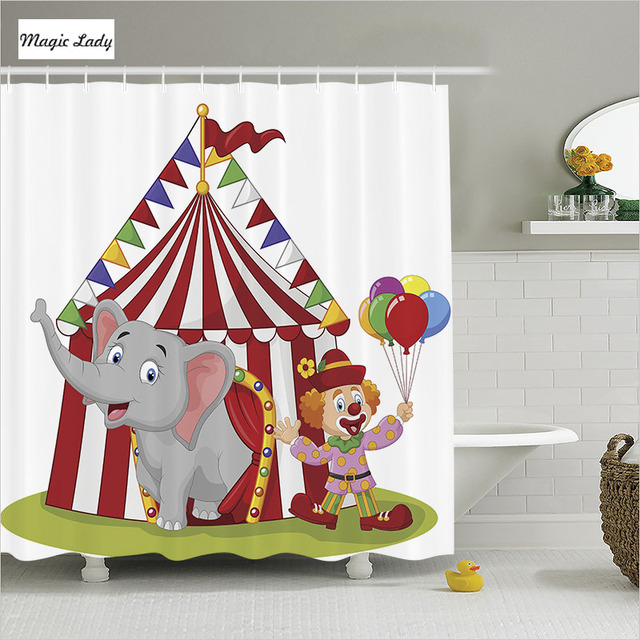 Shower Curtain Kids Bathroom Accessories Cartoon Elephant Circus Animals Clown Tent White Blue Grey Home Decor 180200 Cm