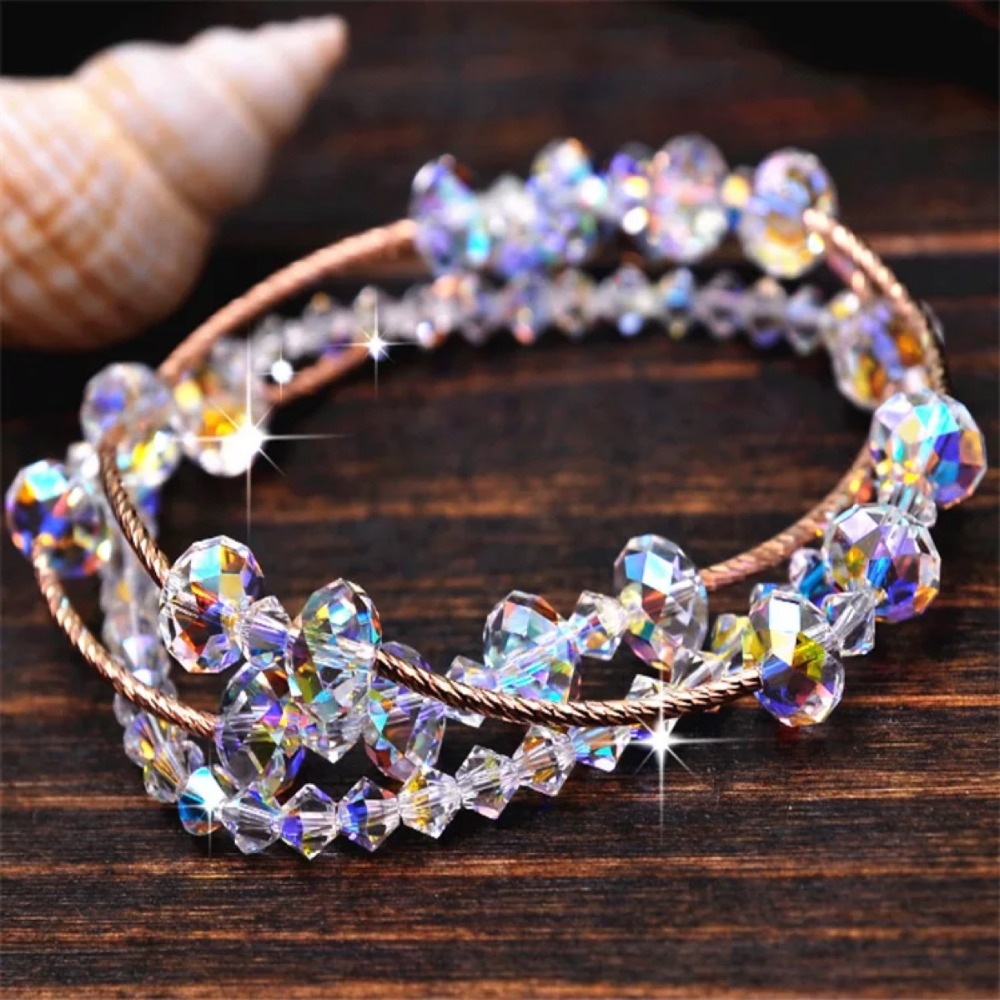 SWAN 3 Stand Multilayer Stretch Crystal Bracelets S925 Silver Plated Rose Gold Trendy Sweet Jewelry Gifts for wife doughter Her