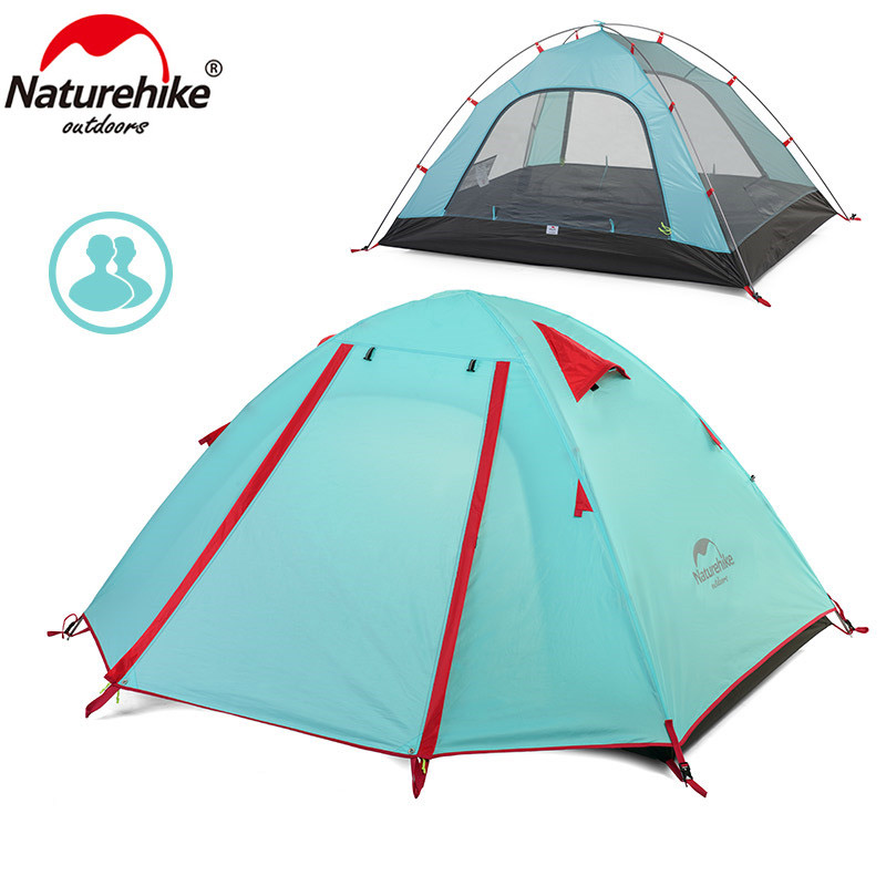 Naturehike Durable Ultralight tents 2 Person Double layers 210T Polyester Camping Tent Waterproof Sunshade Canopy Sunshelter high quality outdoor 2 person camping tent double layer aluminum rod ultralight tent with snow skirt oneroad windsnow 2 plus