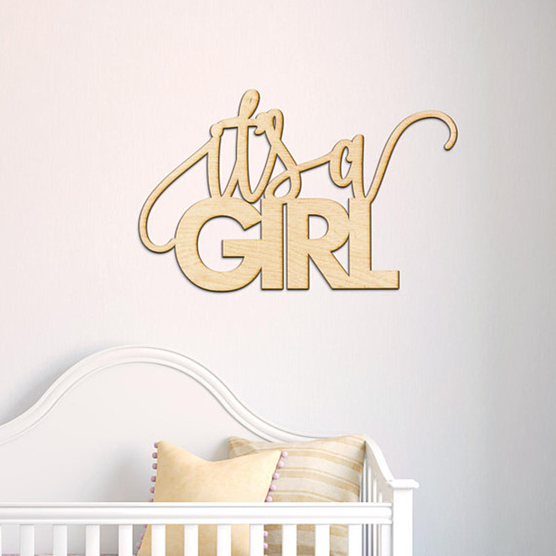 Its A Girl Wood Sign Nursery Deco Baby Shower Wood Sign Pregnancy