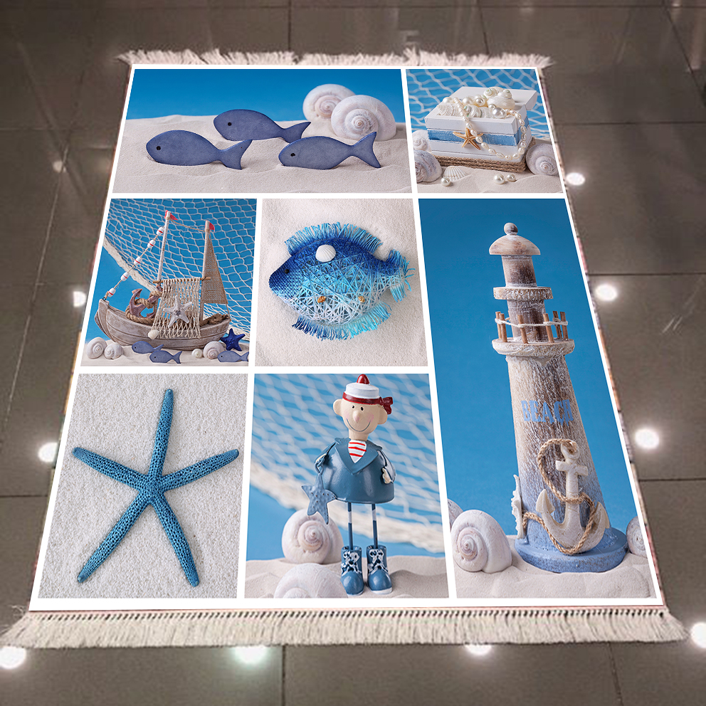 Else Blue White Sea Star Lighthouse Sailor 3d Pattern Print Microfiber Anti Slip Back Washable Decorative Kilim Area Rug Carpet