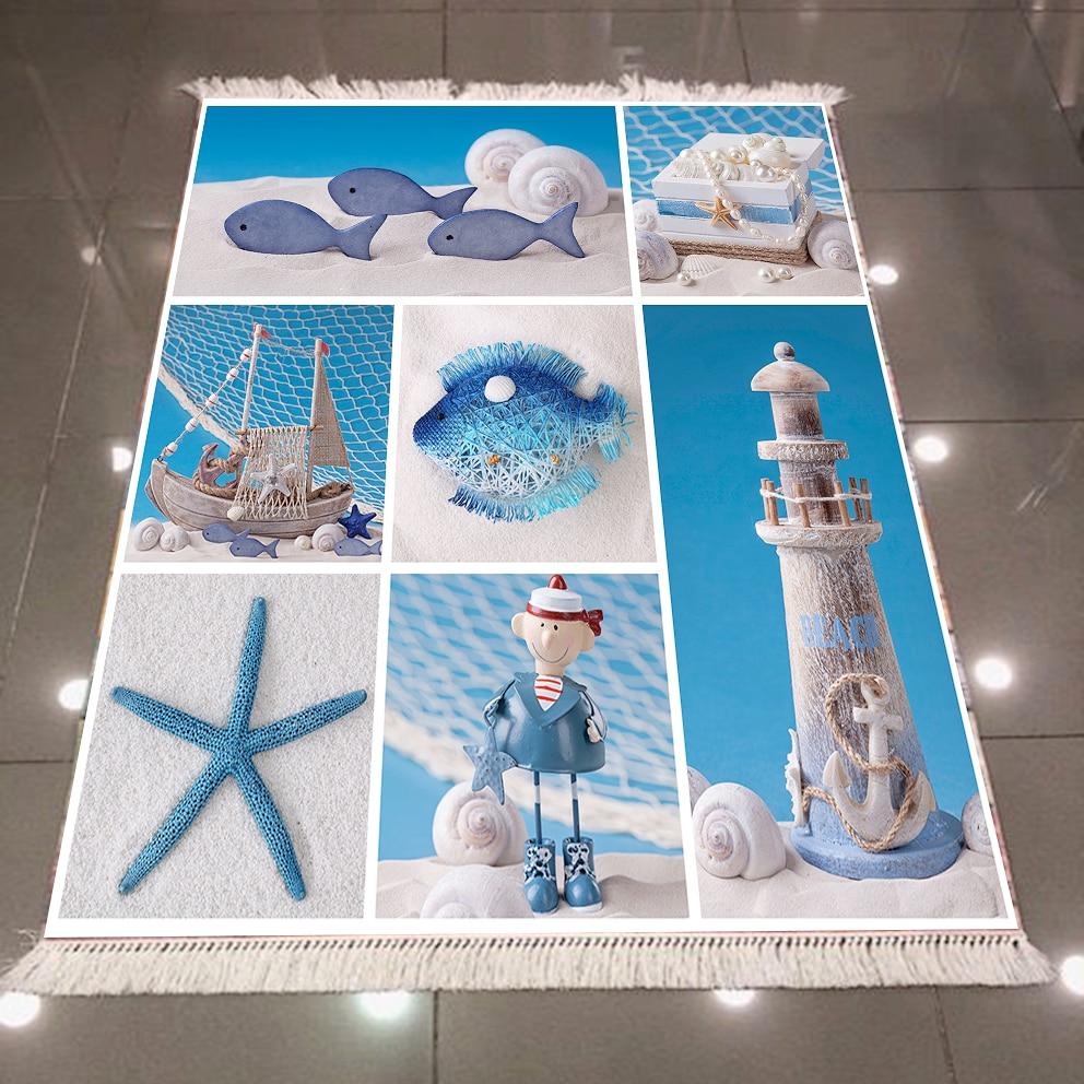 Else Blue White Sea Star Lighthouse Sailor 3d Pattern Print Microfiber Anti Slip Back Washable Decorative Kilim Area Rug Carpet