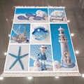Else Blue White Sea Star faro Sailor patrón 3d estampado microfibra antideslizante espalda lavable decorativo Kilim alfombra de área