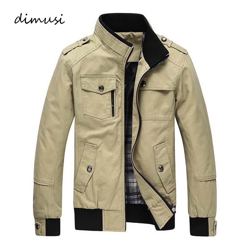 DIMUSI Autumn Winter Men's Jackets Casual Stand Collar Military Windbreaker Coats Male Fashion Business Outerwear Coats,YA030