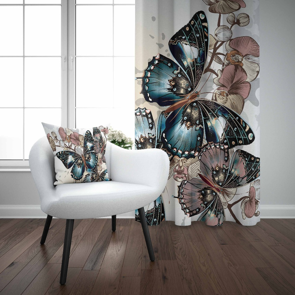 Else Brown White Flowers Big Blue Butterfly Floral 3D Print Living Room Bedroom Window Panel Curtain Combine Gift Pillow Case