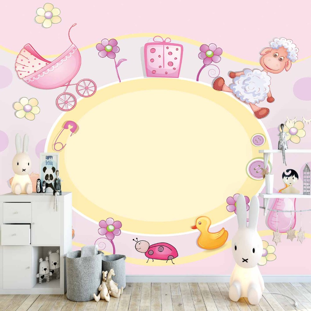 Else Pink Yellow Floor Baby Toys Lamps Cradle 3d Print Cartoon Cleanable Fabric Mural Kids Children Room Background Wallpaper