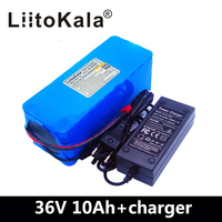LiitoKala New 36v 10ah lithium battery pack 18650 li ion 42V 10000mAh 10s4p large capacity bms electric bicycle charger 2ah
