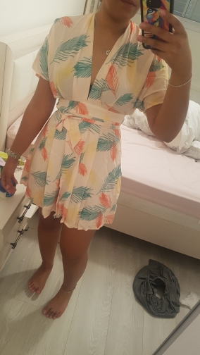 Plunge Neck Tied Open Back Tropical Dress Deep V Neck Fit And Flare Women Dresses Short Sleeve Summer Dress photo review