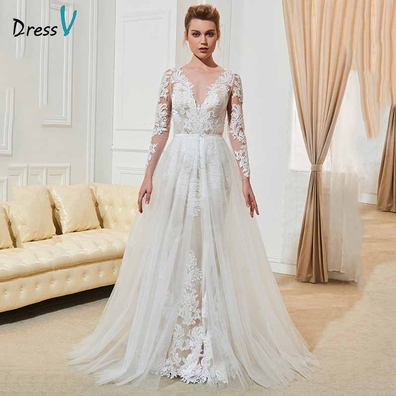 Dressv Ivory Elegant Long Sleeves Wedding Dress V Neck Appliques Button Floor Length Bridal Outdoor&church Wedding Dresses